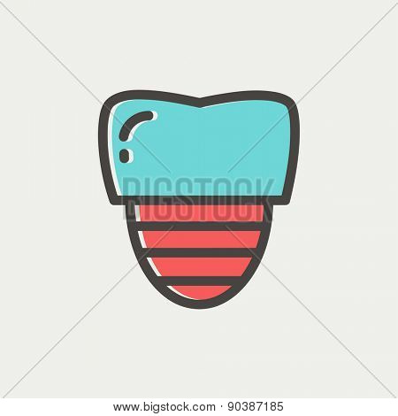 Tooth implant icon thin line for web and mobile, modern minimalistic flat design. Vector icon with dark grey outline and offset colour on light grey background.