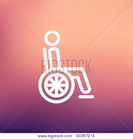Disabled person icon thin line for web and mobile, modern minimalistic flat design. Vector white icon on gradient mesh background.