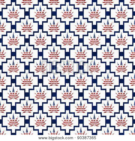 Blue And White Usa Marijuana Tile Pattern Repeat Background