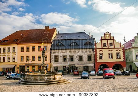 Old town central square panorama in Tabor, Czech Republic