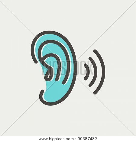 Ear icon thin line for web and mobile, modern minimalistic flat design. Vector icon with dark grey outline and offset colour on light grey background.
