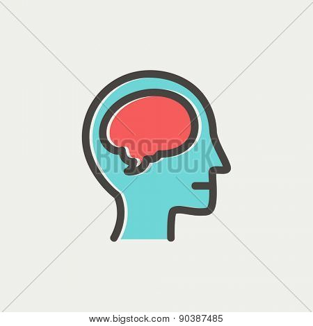 Human head with brain icon thin line for web and mobile, modern minimalistic flat design. Vector icon with dark grey outline and offset colour on light grey background.