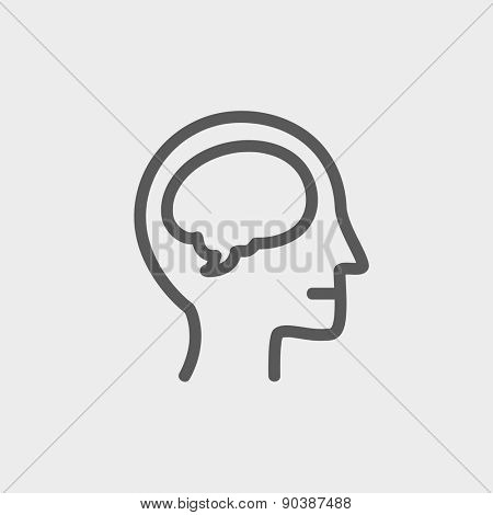Human head with brain icon thin line for web and mobile, modern minimalistic flat design. Vector dark grey icon on light grey background.