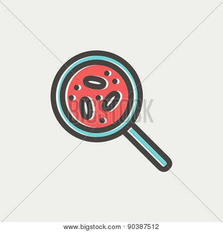Microorganisms under magnifier icon thin line for web and mobile, modern minimalistic flat design. Vector icon with dark grey outline and offset colour on light grey background.