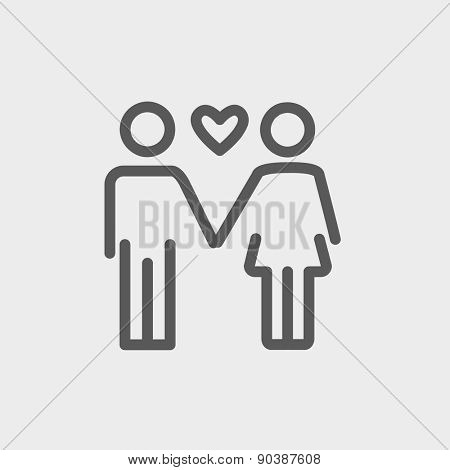 Loving couple icon thin line for web and mobile, modern minimalistic flat design. Vector dark grey icon on light grey background.