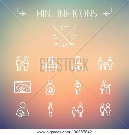 Medicine thin line icon set for web and mobile. Set includes-sick person, pregnant, wife and husband, ultrasound, baby, nurse, family, siblings icons. Modern minimalistic flat design. Vector white