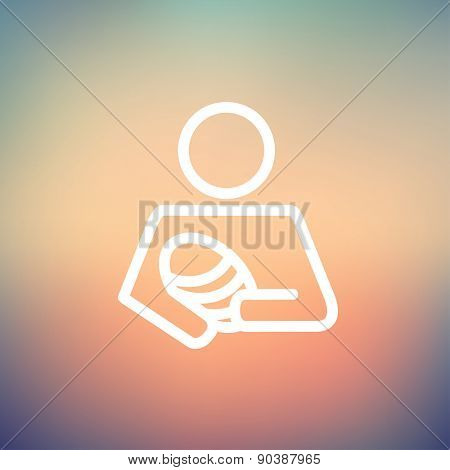 man carrying a baby icon thin line for web and mobile, modern minimalistic flat design. Vector white icon on gradient mesh background.