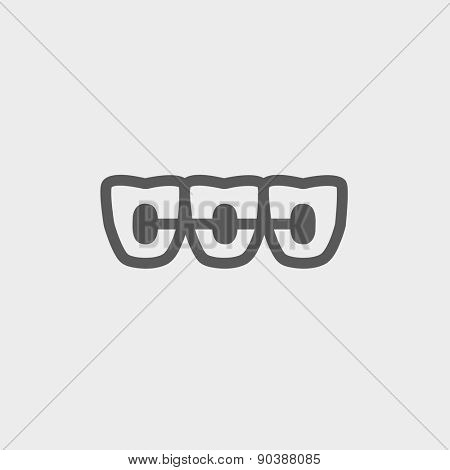 Orthodontic braces icon thin line for web and mobile, modern minimalistic flat design. Vector dark grey icon on light grey background.