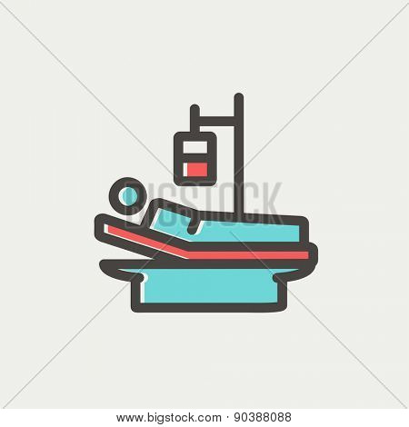Sick man resting in bed with IV saline solution icon thin line for web and mobile, modern minimalistic flat design. Vector icon with dark grey outline and offset colour on light grey background.