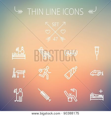 Medicine thin line icon set for web and mobile. Set includes-teeth braces, toothpaste, dental chair, syringe, crutch, ambulance, patient, IV icons. Modern minimalistic flat design. Vector white icon
