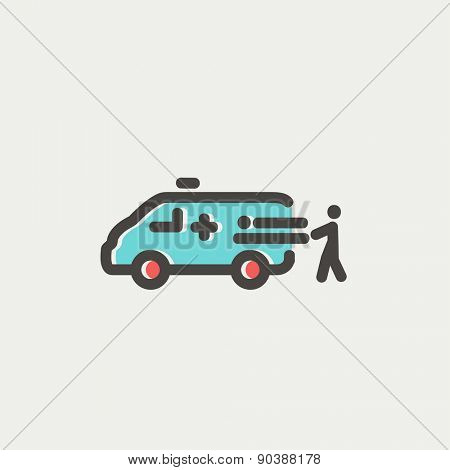 Man and ambulance car icon thin line for web and mobile, modern minimalistic flat design. Vector icon with dark grey outline and offset colour on light grey background.
