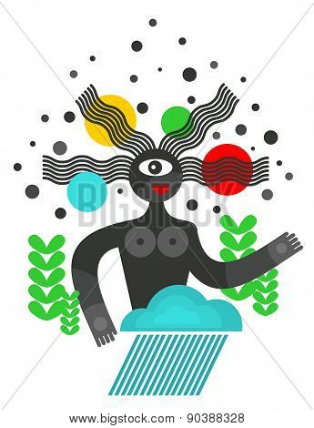 Abstract black woman with strange hair.