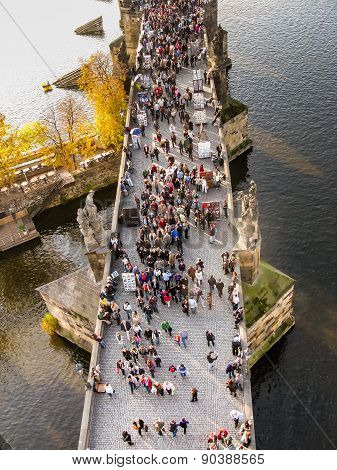 Top View On Charles Bridge In Prague