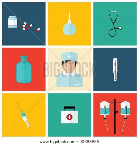 Medical flat icon set with doctor, vector design elements.