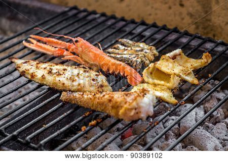 Grilled Fish On Charcoals