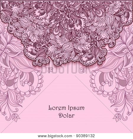 Template with doodle flowers  lace in pink lilac