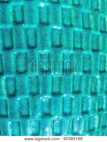 Turquoise Ceramic Pot with Squares Pattern