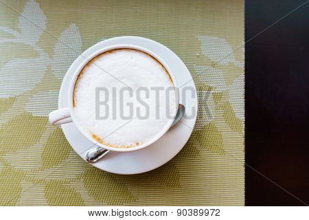 Coffee Cup On Table, Top View