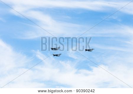 Military Transport Aircrafts In White Clouds