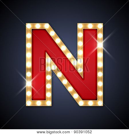 Vector illustration of realistic retro signboard letter N. Part of alphabet including special European letters.