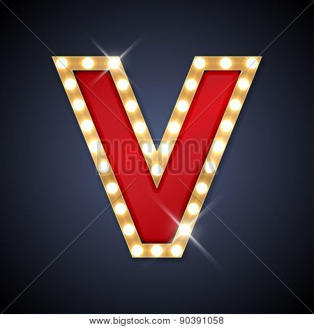 Vector illustration of realistic retro signboard letter V. Part of alphabet including special European letters.