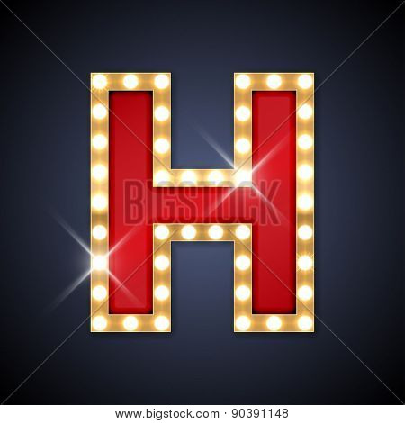 Vector illustration of realistic retro signboard letter H. Part of alphabet including special European letters.