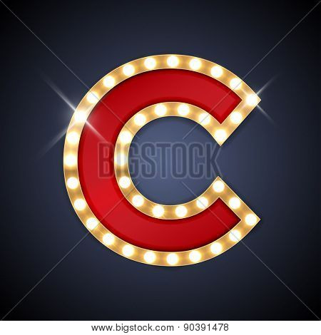 Vector illustration of realistic retro signboard letter C. Part of alphabet including special European letters.