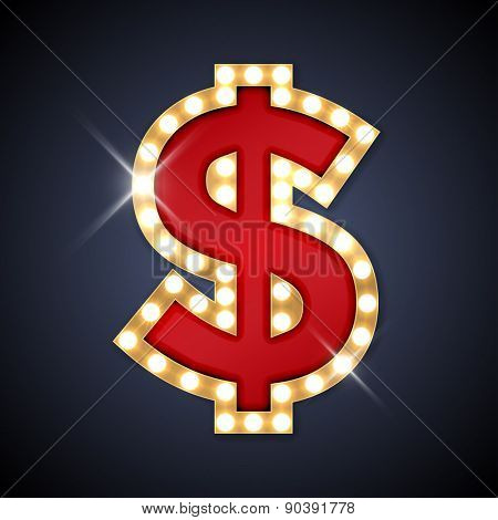Vector illustration of realistic retro signboard Dollar sign. Part of alphabet including special European letters.
