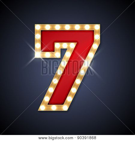 Vector illustration of realistic retro signboard number 7 (seven). Part of alphabet including special European letters.