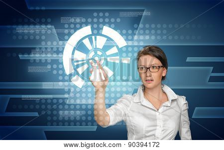 Woman working with digital screen