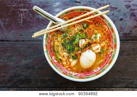 Prawn Noodles Soup With Egg In Bowl Chinese Style
