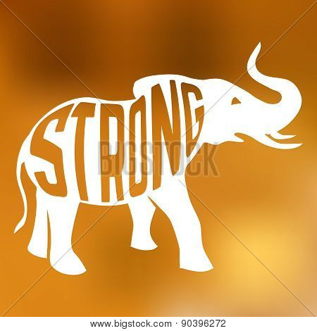 Silhouette of strong elephant with text inside on blur background.