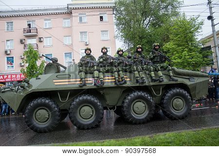 Donetsk - May 9, 2015: Military Equipment Donetsk People's Republic