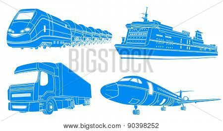 Transport: airplane, train, truck, liner