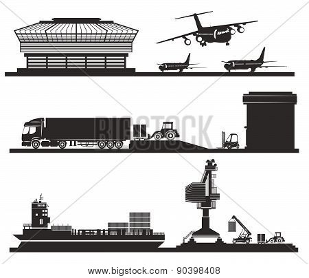 Transport concept, loading of containers in warehouse, airport, port and transportation