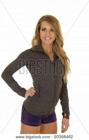 Fitness Woman In Gray Jacket And Purple Shorts Smile