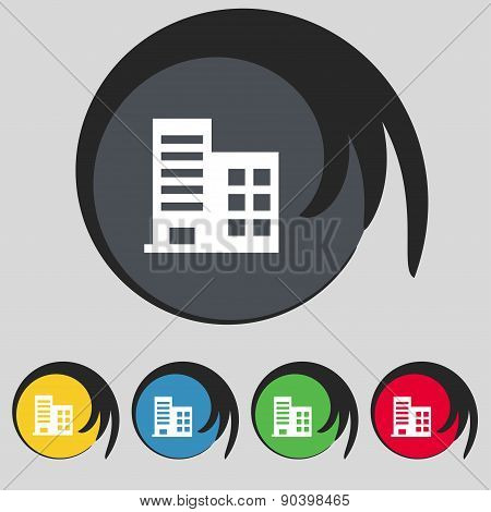 High-rise Commercial Buildings And Residential Apartments Icon Sign. Symbol On Five Colored Buttons.