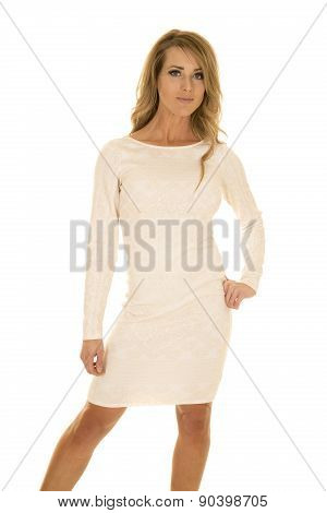 Woman In White Dress Stand Hand On Hip