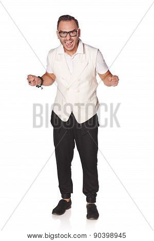 Happy excited man screaming celebrating success
