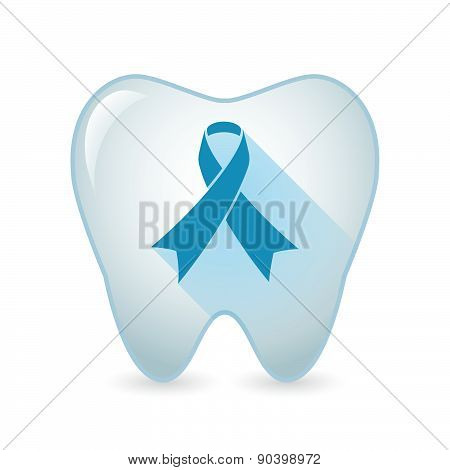Tooth Icon With An Awareness Ribbon
