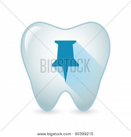 Tooth Icon With A Push Pin
