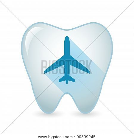 Tooth Icon With A Plane