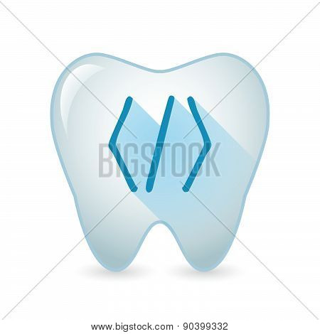 Tooth Icon With A Code Sign