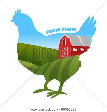 Hen with farm background inside. Concept of fresh products.