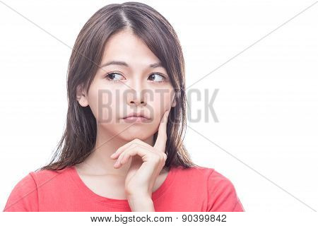Chinese Woman With Hand On Face, Thinking