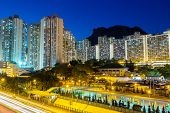 picture of mountain lion  - Cityscape in Hong Kong with lion rock mountain - JPG
