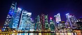 stock photo of singapore night  - Cityscape Singapore at night - JPG
