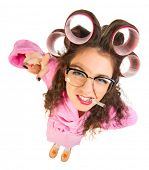 pic of nerd  - Funny housewife with nerd glasses isolated - JPG