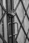 foto of lock  - Photograph of locked security gate using heavy pad lock - JPG