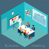 pic of coworkers  - Isometric 3d business meeting - JPG